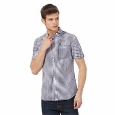 St George By Duffer Mens Big And Tall Navy And White Checked Short Sleeved Shirt