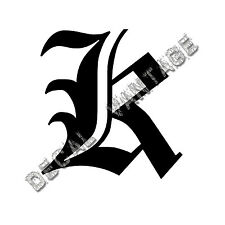 Old English K Letter Initial Vinyl Sticker Decal Font Diploma Choose Size &Color
