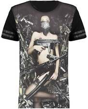 Divine Trash Men Artillery Girl Print Short Sleeve Crew Neck Fashion T-Shirt Tee