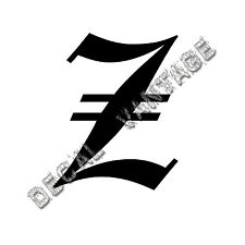 Old English Z Letter Initial Vinyl Sticker Decal Font Diploma Choose Size &Color