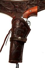 38/357 Brown Western/Cowboy Hollywood LEFT HANDED Leather Gun Holster and Belt