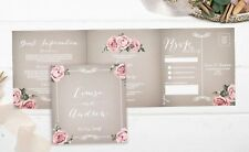 Vintage Floral Framed Landscape Wedding Invitation Sample (grey)
