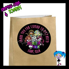 Monster High Girls Birthday Party Favor Goody Bag STICKERS - Personalized