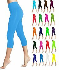 Lush Moda Seamless Capri Length Basic Cropped Leggings - Variety of Colors