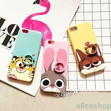 Rabbit Tiger Fox Finger Rings Hard TPU Case Cover for iPhone 7 7 Plus 6 6S