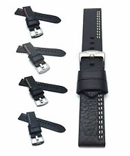 Racer Leather Watch Strap 22mm, Black w/ White, Red, Yellow, Orange, Blue Stitch