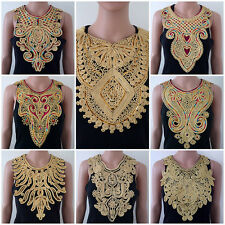 Gold Embroidered Sequin Design Cord Braided Collar Neckline Applique Lace 701#