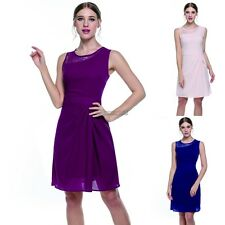 Women Sleeveless Lace O-Neck Slim Fit Draped Party Dress OK02