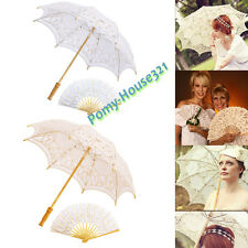 Lady Woman Lace Umbrella Parasol Romantic Wedding Fan Photograph Ivory White New