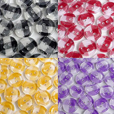 200/50/20Pcs Lot 11mm Gingham Grid Round Plastic Buttons Craft Sewing Delightful