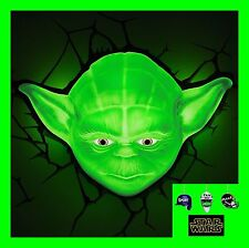 3D FX LED WALL DECO LIGHT - STAR WARS YODA FACE AND/OR HAND WITH LIGHTSABER-NEW