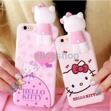 1x 3D Hidden Pink Hello Kitty Soft Case Cover for iPhone 7 7 Plus 6 6S + Lanyard