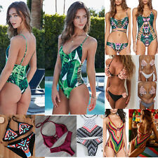 Women Swimwear Bikini Set Push-up Padded Bra Bandage Swimsuit Bathing Beachwear