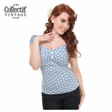 Collectif Ladies 50's Polka dot Top Classic Vintage Rockabilly Retro Clothing