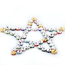 50/100Pcs 6mm Crystal Rhinestone Silver Plated Spacer Beads Jewelry Making DIY