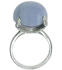Blue Lace Agate Gemstone Claw Design Sterling Silver Ring
