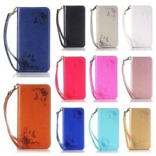 Embossing Surface Magnetic Faux Leahter Folio Case For Smart Phones + Hand Strap