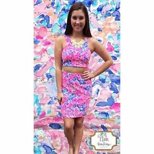 Lilly Pulitzer COCO CORAL CRAB MALLIKA Crop Top & Pencil Skirt Set XS S M L XL