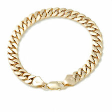 Real Solid 9ct 9k Gold 8mm Flat Curb Bracelet 19cm 20cm 21cm 22cm MADE TO ORDER
