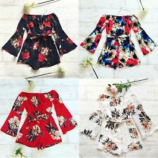 Red/White/Navy/Multi Floral Bardot Long Sleeve Summer Party Festival Playsuit