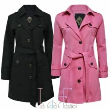 New Ladies Long Trench Womens Double Breasted Button Mac Belted Coat Jacket Top