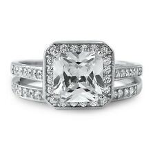 Silver 2.80 Carat Princess Cut CZ Wedding Ring Engagement Set