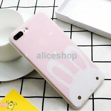 Cute Fresh Pink White Bunny Rabbit Soft Case Cover for iPhone 7 7 Plus 6 6S Plus