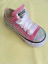 *BLING*Customised PINK CRYSTAL Baby Girls Infants CONVERSE ALLSTAR Trainers 3-10