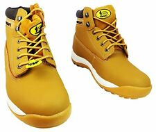 MENS WORK SAFETY STEEL TOE CAP LACE UP LEATHER ANKLE WORK BOOTS TRAINERS SHOES