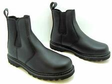 MENS SAFETY CHELSEA ANTI SLIP ON WORK BOOT GROUNDWORK STEEL TOE CAP MILITARY NEW
