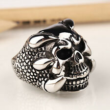 Dragon Claw Gothic Skull Biker Harley Classic Stainless Steel Silver Men Ring