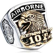 US Airborne Army Mens Ring Stainless Steel Band Punk Rock Silver Ring Biker Band