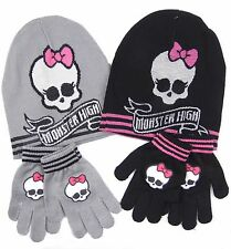 Girls Monster High Beanie Hat and Gloves Set Grey or Black 52CM and 54CM