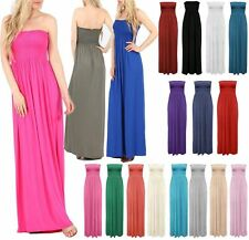 Womens Strapless Maxi Dress Sheering Boobtube Bandeau Ladies Long Plus Size 8-22