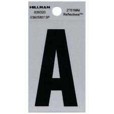 "LOT OF 4 Hillman Reflective Vinyl Letters 2"" 51MM Black/Silver Mailbox Sign Home"