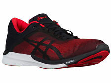 NEW MENS ASICS GEL FUZEX RUSH RUNNING SHOES TRAINERS VERMILION / BLACK / WHITE