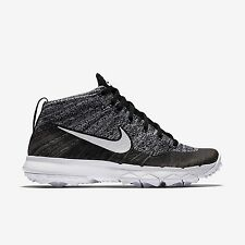 Nike Womens Flyknit Chukka Golf Shoes- Black / White -New In Box