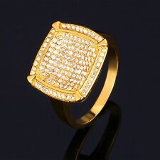 Bling Iced Out LAB Diamond 18K Gold Plated Square Hip Hop Size 7-11 Men's Ring