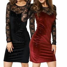 Stretch fitted crushed velvet evening dress with lace top
