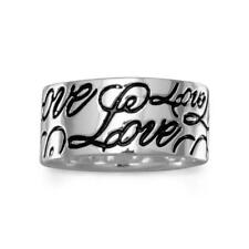 Love Band Ring Wide 9mm Engraved Sterling Silver