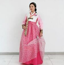 Girl Hanbok Korean traditional Dress Young woman Flower pink skirt Butterfly