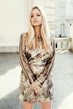 H&M Conscious Exclusive Collection Silk Lyocell Gold Dress UK 10 12 38 BNWT