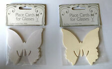 10-pk BUTTERFLY PLACE CARDS for WINE GLASSES White Ivory PLAIN WEDDING BAPTISM