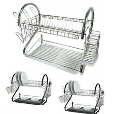 2 Tier Plate Dish Cutlery Cup Drainer Rack Drip Tray Plates Holder Chrome/Black