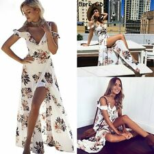 UK Stock Ladies Maxi Boho Floral Summer Beach Long Evening Cocktail Party Dress