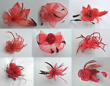 Bright red fascinator designs on hair band, comb or clip. Ruby/scarlet/cardinal
