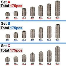 175pcs M3(3mm) A2 Stainless Steel Cup Flat Cone Point Grub Set Screws Assortment