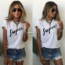 Women Fashion Casual Round Neck Batwing Short Sleeve Letter Print Loose Tops EA9