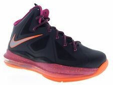 Nike Youth LeBron X GS Floridian Black FireBerry Basketball Shoes 543564 004