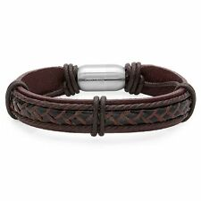 Mens Brown Genuine Leather Bracelet with Stainless Steel Magnetic Handcrafted